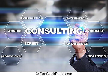 Consulting business concept. Text and icons on virtual screen.