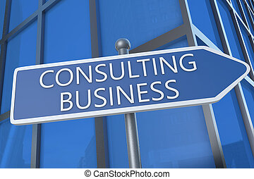 Consulting Business - illustration with street sign in front...