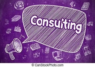 Consulting - Cartoon Illustration on Purple Chalkboard.