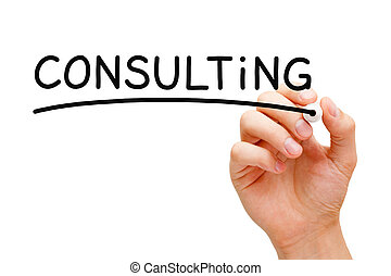 Consulting Concept - Hand writing Consulting with black...