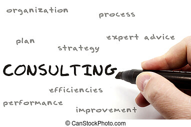 Consulting being written with a black marker on a dry erase board by a hand with other terms such as organization, process, expert, advice, plan, strategy, and more.