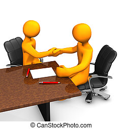 Consulting Deal - Two orange cartoon characters have a...