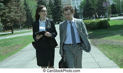 Consulting - Female consultant and her client walking...