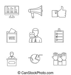 Consulting icons set, outline style - Consulting icons set....