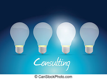consulting light bulb message illustration design over a ...