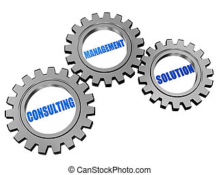 consulting, management, solution in silver grey gears