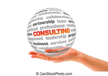 Consulting - Hand holding a Consulting Word Sphere on white...