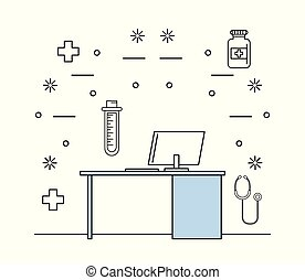 consulting room medical elements with endoscope vector illustration graphic desing