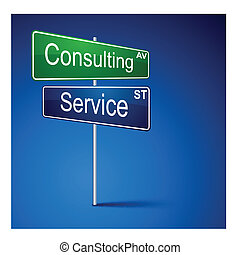 Consulting service direction road sign.
