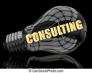 Consulting - lightbulb on black background with text in it....