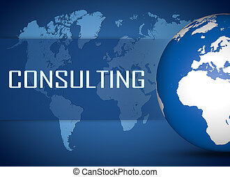 Consulting concept with globe on blue world map background