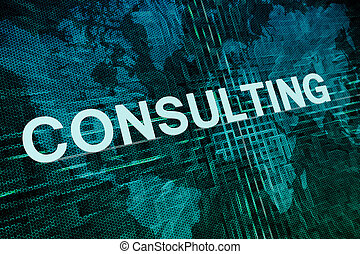 Consulting text concept on green digital world map...