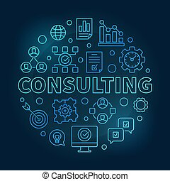 Consulting vector round blue outline illustration
