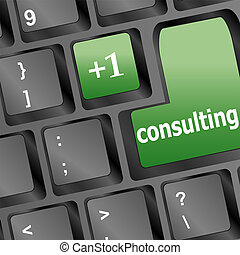 consulting word on white keyboard, business concept