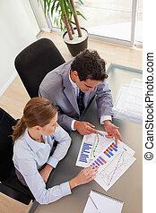 consultor, analisando, dela, cliente, acima, vista, diagrama