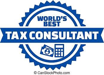 consultor, botón, impuesto, mundo, mejor