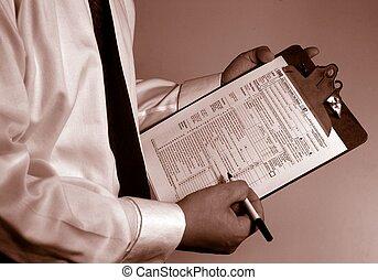 consultor, contador, papeleo, impuesto