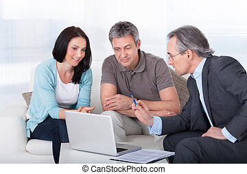 consultor, par, reunião