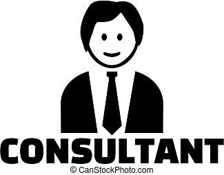 consultor, trabalho, ícone, título