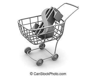 consumatore, cesto, con, dollaro