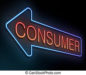consumatore, concept.