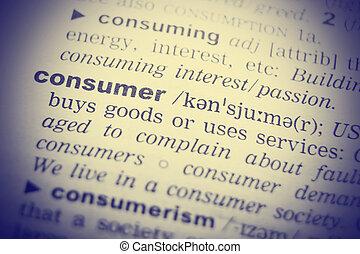 consumatore, primo piano, dizionario, parola