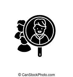 consumatore, ricerca, nero, icona, vettore, segno, su, isolato, fondo., consumatore, ricerca, concetto, simbolo, illustrazione