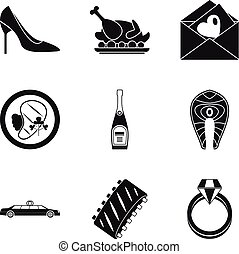 Consume icons set. Simple set of 9 consume vector icons for web isolated on white background