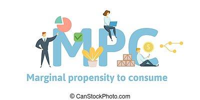 consume., plano, concepto, cartas, illustration., fondo., marginal, aislado, icons., propensión, vector, keywords, mpc, blanco