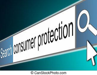 consument, bescherming, concept.