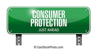 consument, bescherming, wegaanduiding, illustratie, ontwerp