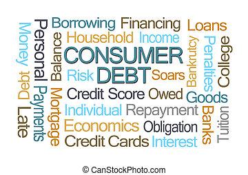 consument, dept, woord, wolk
