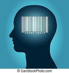 consument, hoofd, streepjescode, mannelijke