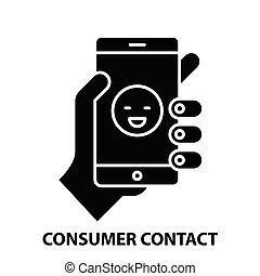 consumer contact icon, black vector sign with editable strokes, concept illustration