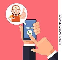 Consumer hand hold smartphone and call courier man...