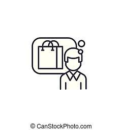 Consumer linear icon concept. Consumer line vector sign, symbol, illustration.