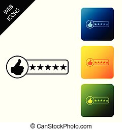 Consumer or customer product rating icon isolated. Set icons colorful square buttons. Vector Illustration