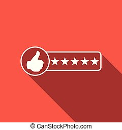 Consumer or customer product rating icon isolated with long shadow. Flat design. Vector Illustration