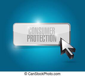consumer protection button illustration design over a blue...