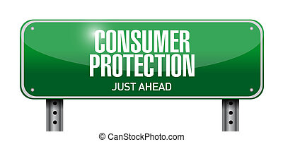 consumer protection road sign illustration design over a ...