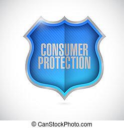 consumer protection shield illustration design over a white...