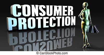 Consumer Protection as a Concept with Lady Holding Shopping...