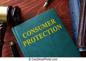 Consumer protection title on a book and gavel.