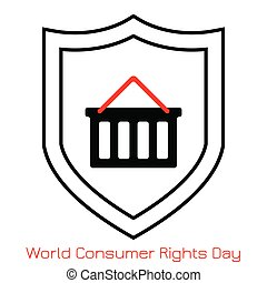 Consumer Rights World Consumer Rights Day. Concept of the event. Simple logo, icon. Shopping cart and shield.