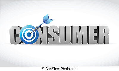 consumer word and target illustration design over white