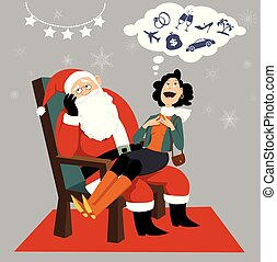 Consumerism and Christmas - Adult woman sitting on annoyed ...