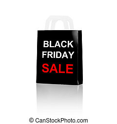 shopping bag with sale and black friday word