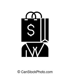 consumerism icon, vector illustration, black sign on isolated background