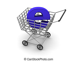 Consumer\'s basket and symbol of the Internet