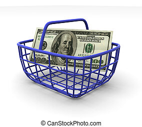 Consumer\'s basket with handred dollars. 3d